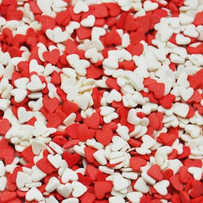 Посыпки Сердечки красно-белые