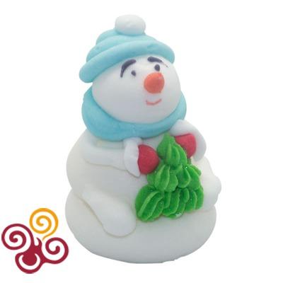 Сахарная фигурка Снеговик с елочкой №2