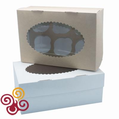 Коробка ЭКО с окном под 6 капкейков двухсторонняя 250*170*100