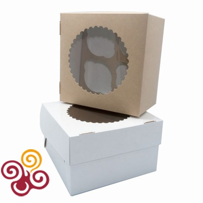 Коробка ЭКО с окном под 4 капкейка двухсторонняя 165*165*100