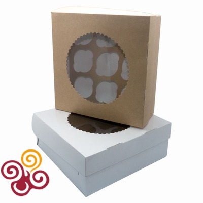 Коробка ЭКО с окном под 9 капкейков двухсторонняя 255*255*100