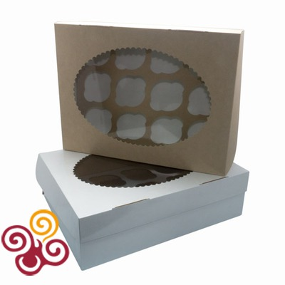 Коробка ЭКО с окном под 12 капкейков двухсторонняя 335*255*100