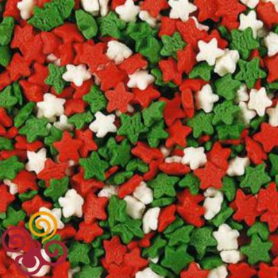 Посыпки Звезды красно-бело-зеленые мини