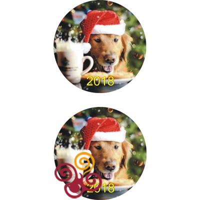 Сахарная картинка Новогодняя Собачка №1 d12,10 см
