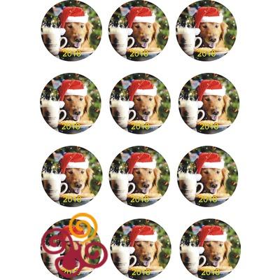 Сахарная картинка Новогодняя Собачка №1 d6 см