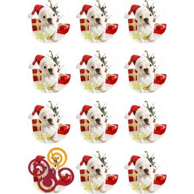Сахарная картинка Новогодняя Собачка №4 d6 см